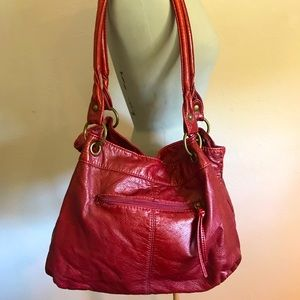 Faux leather red bag